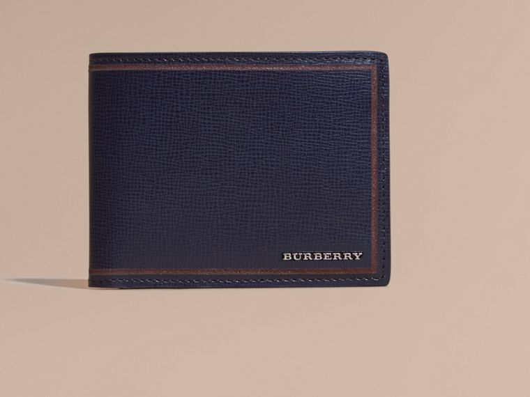 Border Detail London Leather Bifold Wallet in Dark Navy - cell image 1