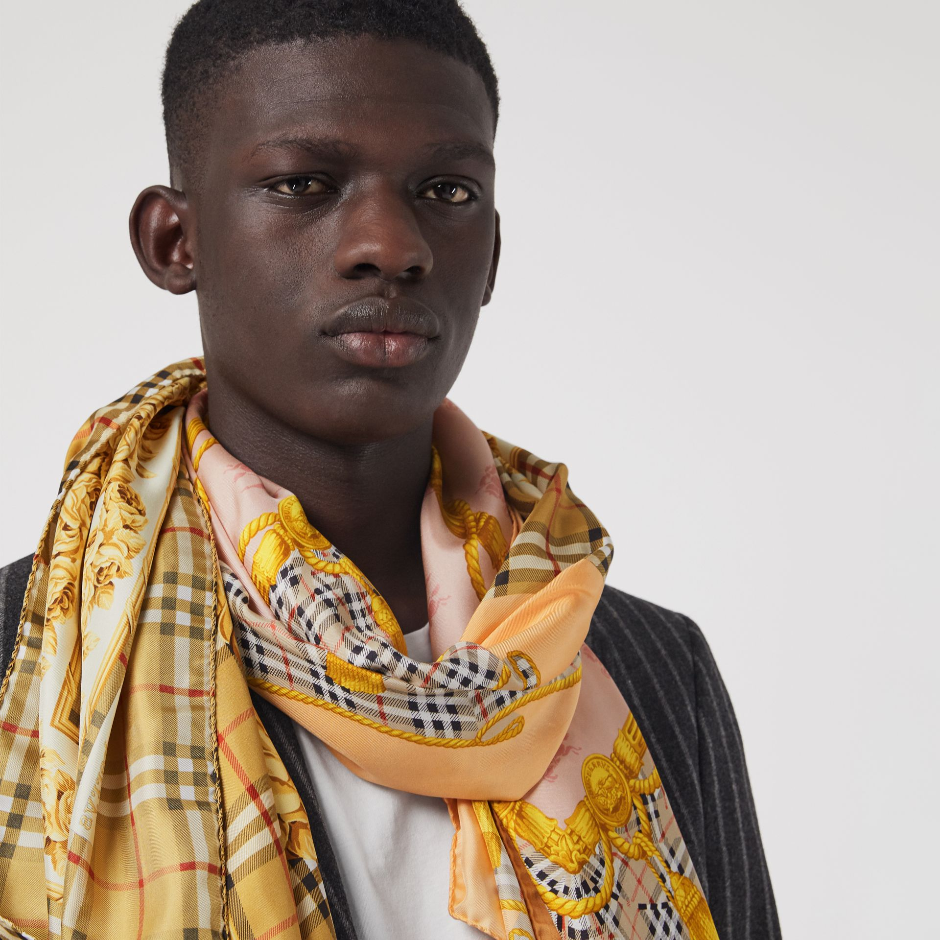 Archive Scarf Print Silk Scarf in Antique Yellow | Burberry - gallery image 4