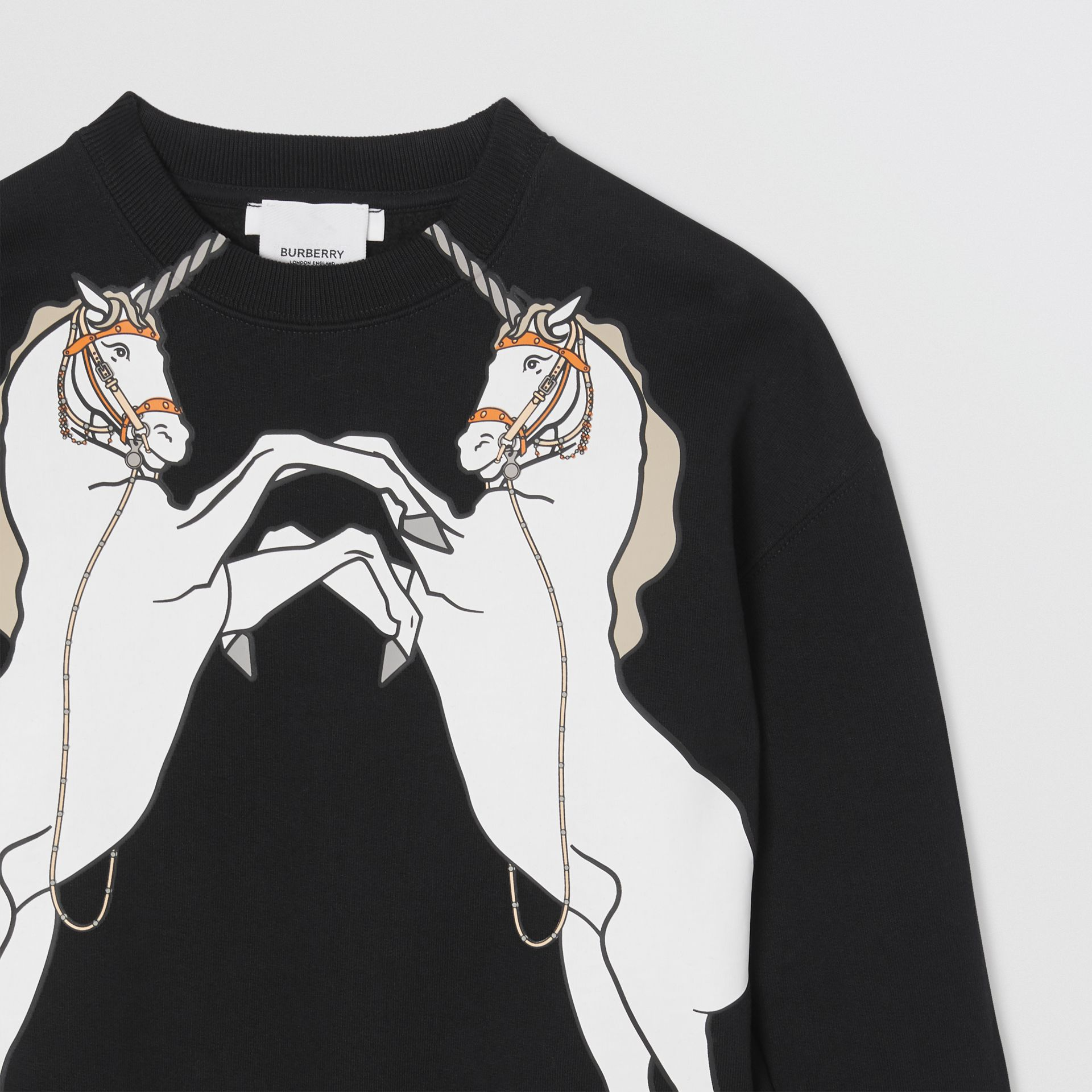 Unicorn Print Cotton Jersey Sweatshirt in Black | Burberry - gallery image 4