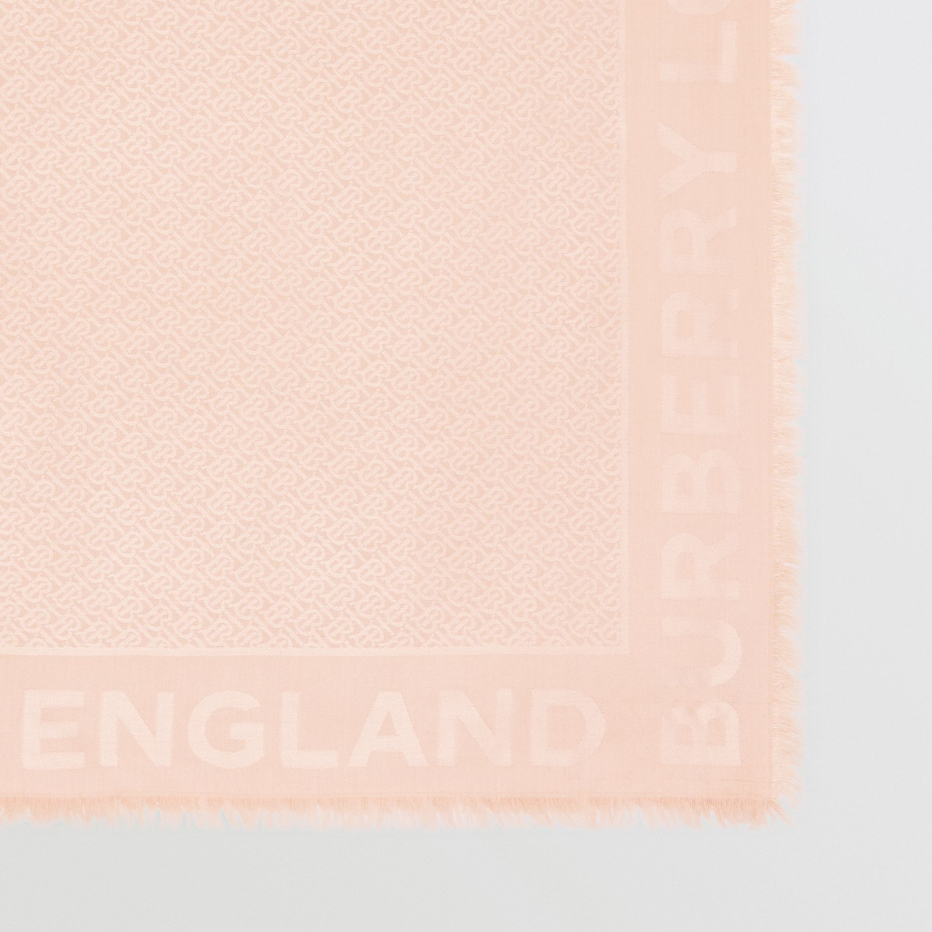 Monogram Silk Wool Jacquard Large Square Scarf in Rose Beige | Burberry United Kingdom - gallery image 1