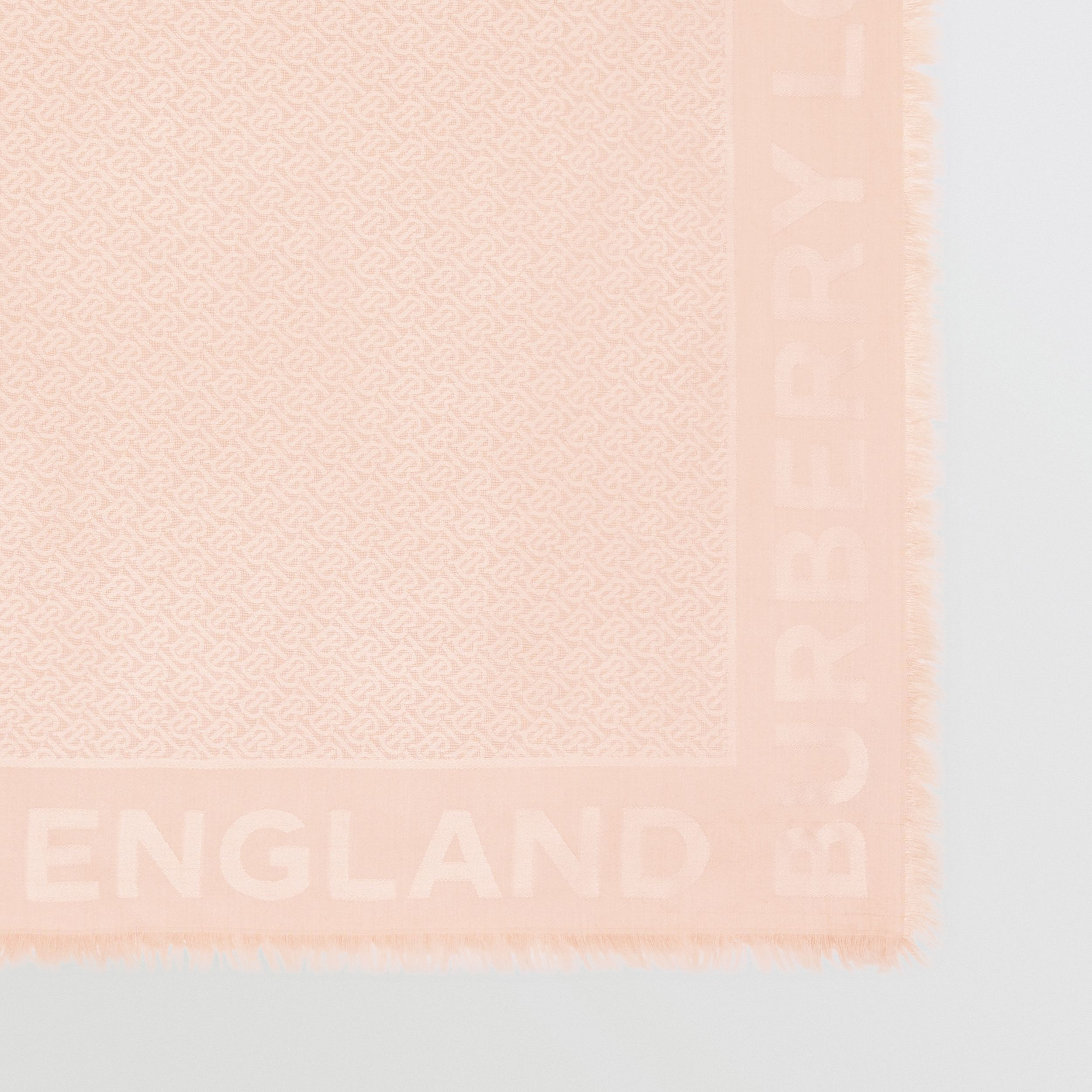 Monogram Silk Wool Jacquard Large Square Scarf in Rose Beige | Burberry - 2