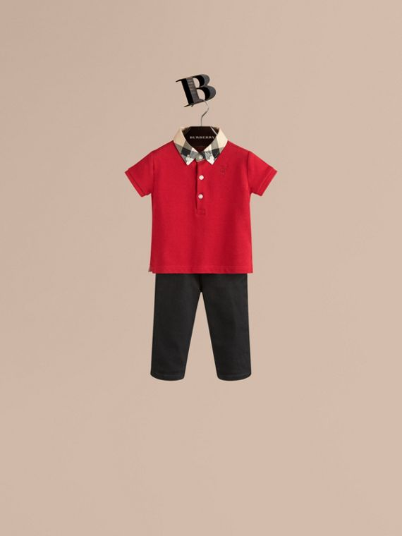 Check Collar Polo Shirt Military Red