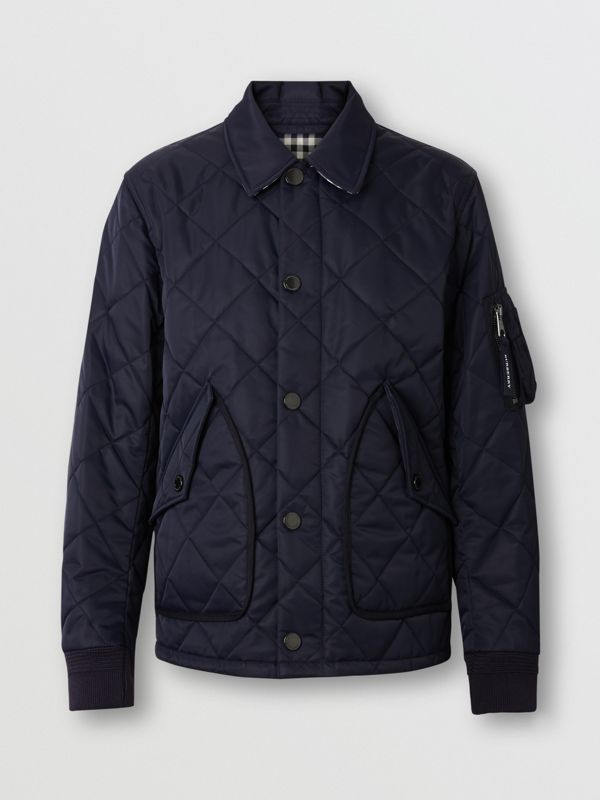 Diamond Quilted Jacket in Navy - Men | Burberry United Kingdom - cell image 3