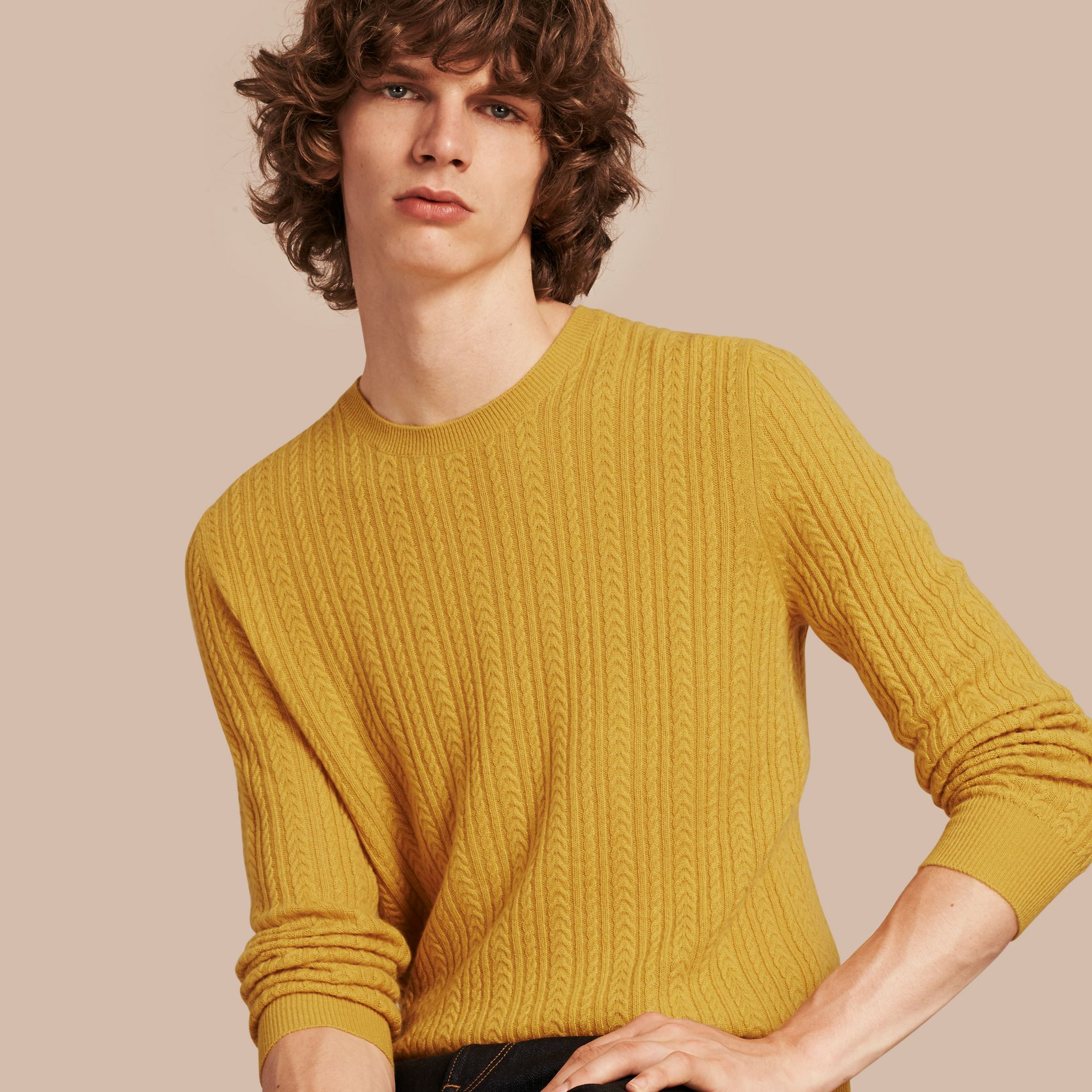 Citrus yellow Aran Knit Cashmere Sweater Citrus Yellow - gallery image 1