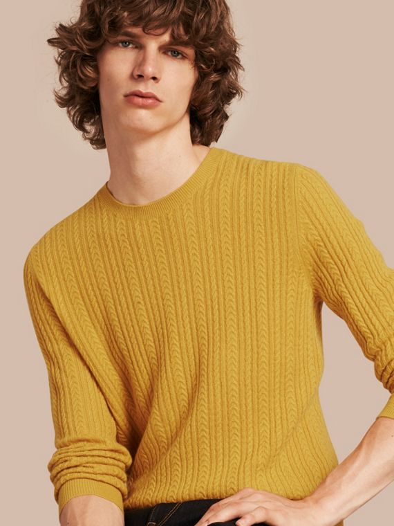 Aran Knit Cashmere Sweater Citrus Yellow