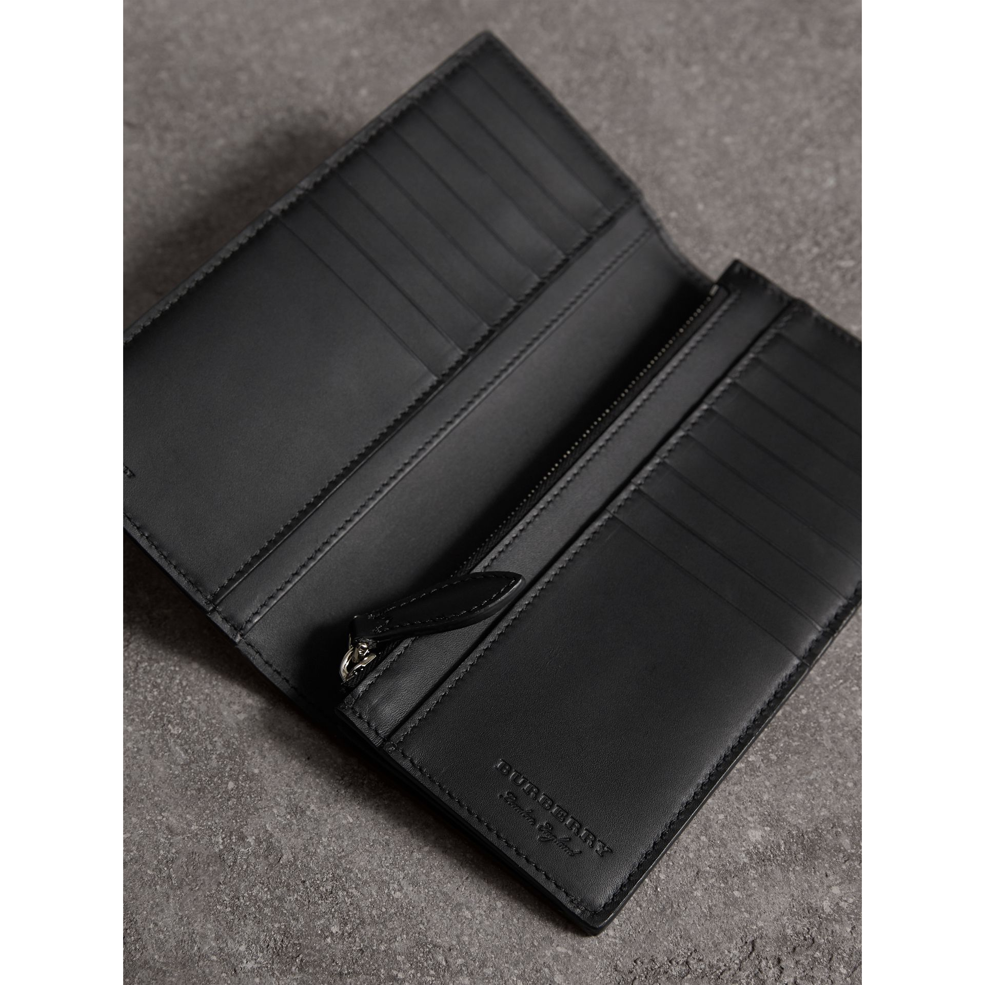 Haymarket Check and Leather Continental Wallet in Black - Men | Burberry United States - gallery image 3