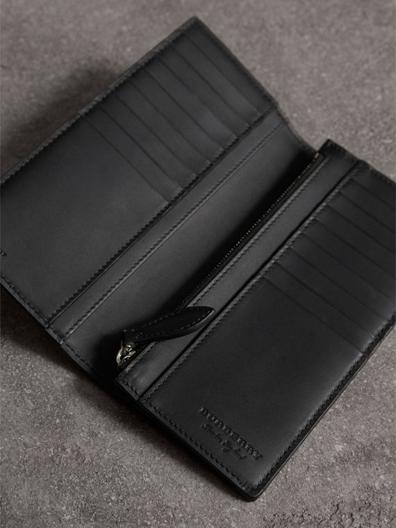 Haymarket Check and Leather Continental Wallet in Black - Men | Burberry - cell image 3