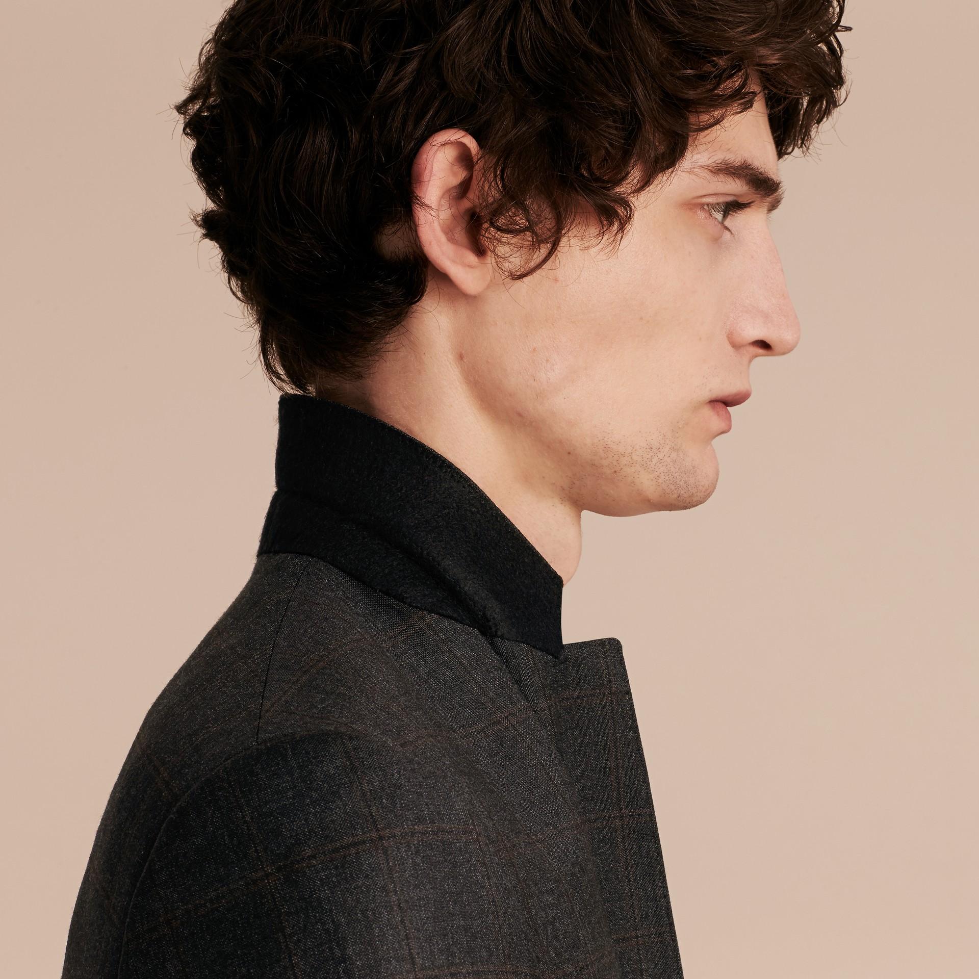 Dark brown Slim Fit Check Wool Travel Tailoring Suit - gallery image 5
