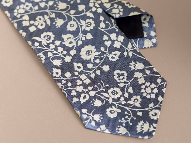 Modern Cut Floral Silk Jacquard Tie in Pale Blue - Men | Burberry Australia - cell image 1