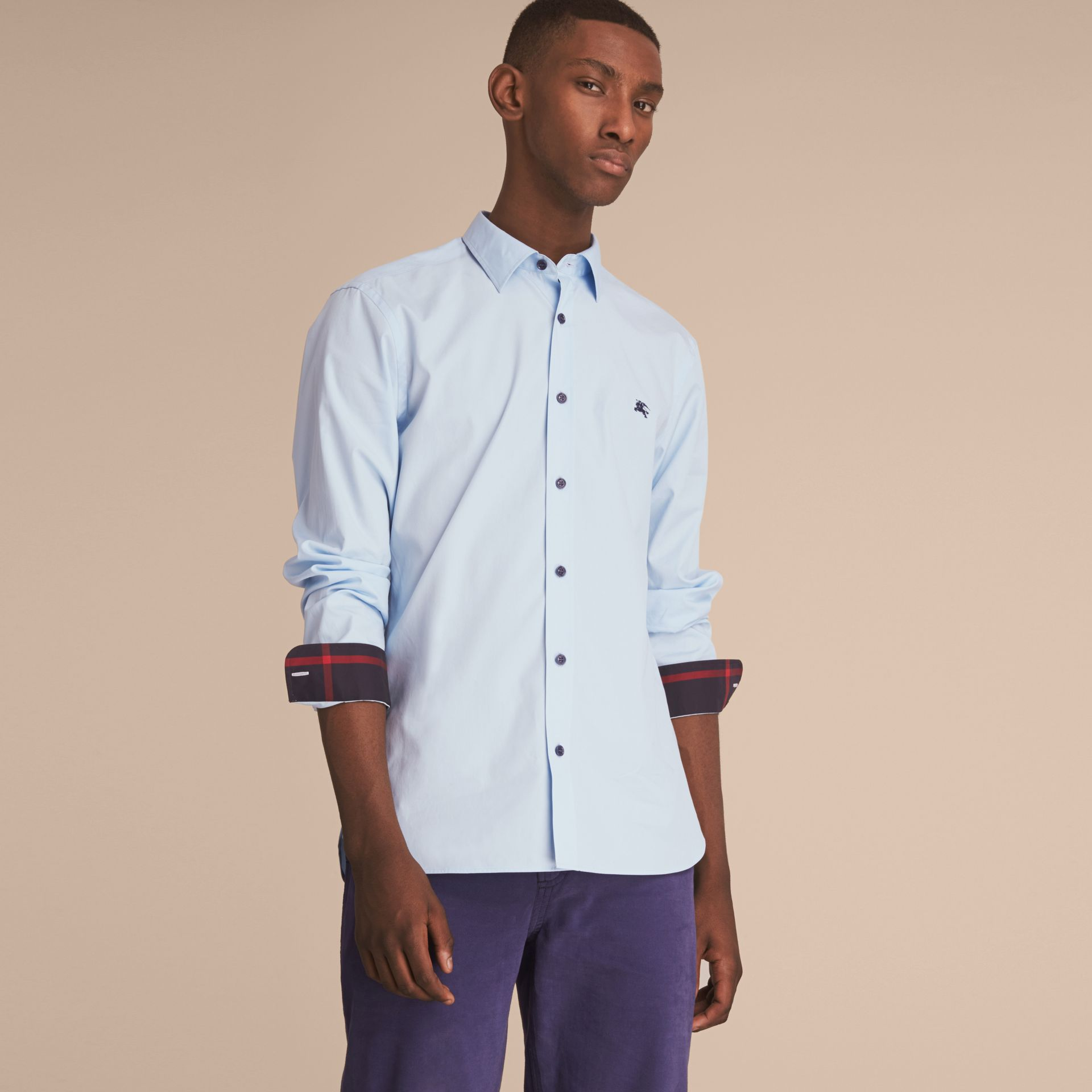 Resin Button Cotton Poplin Shirt in Pale Blue - Men | Burberry - gallery image 6