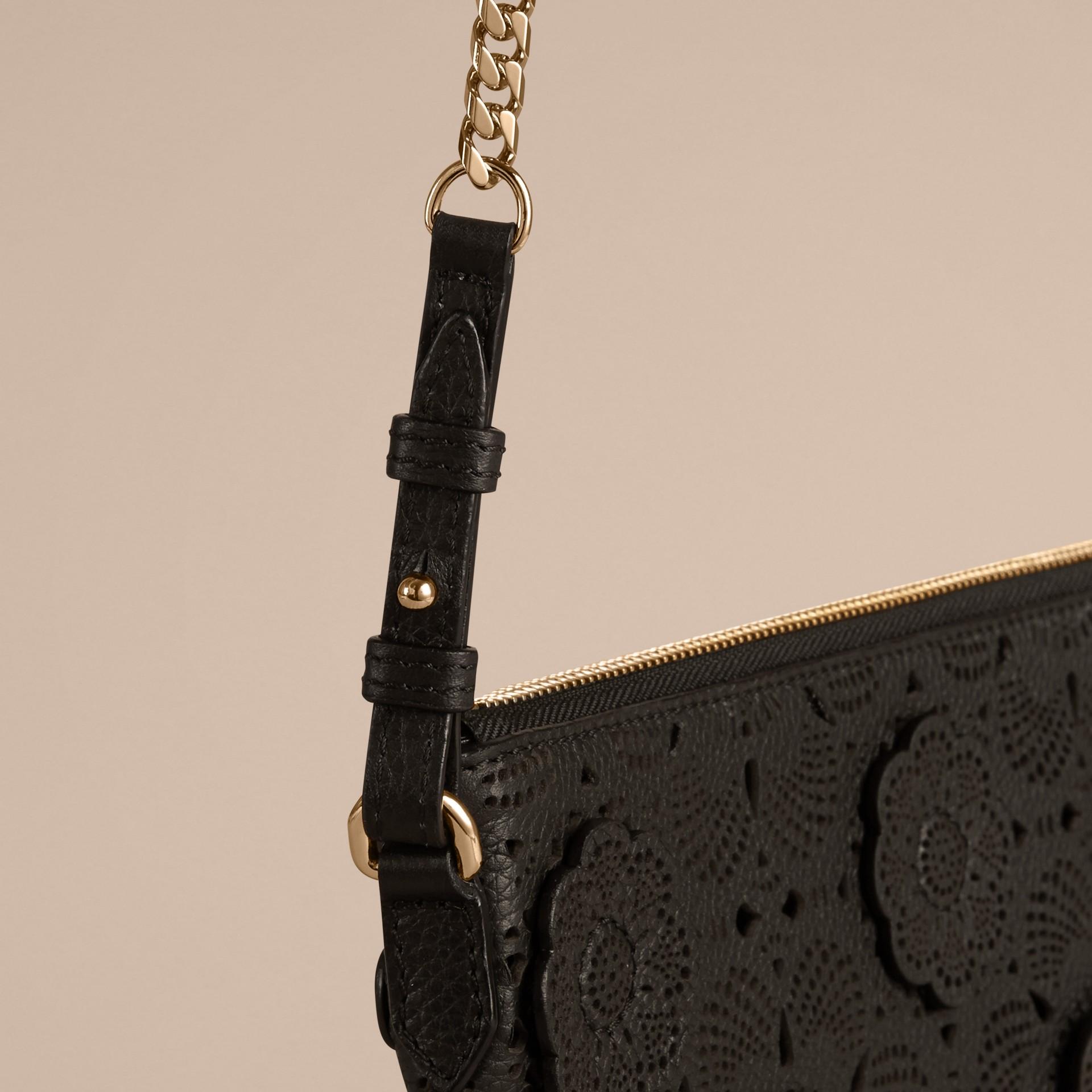 Black Laser-cut Floral Lace Leather Clutch Bag Black - gallery image 5
