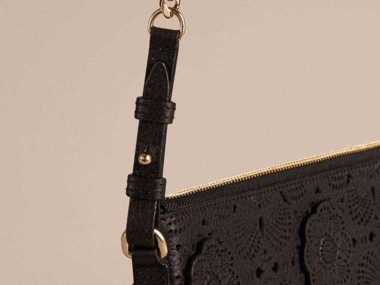 Black Laser-cut Floral Lace Leather Clutch Bag Black - cell image 4