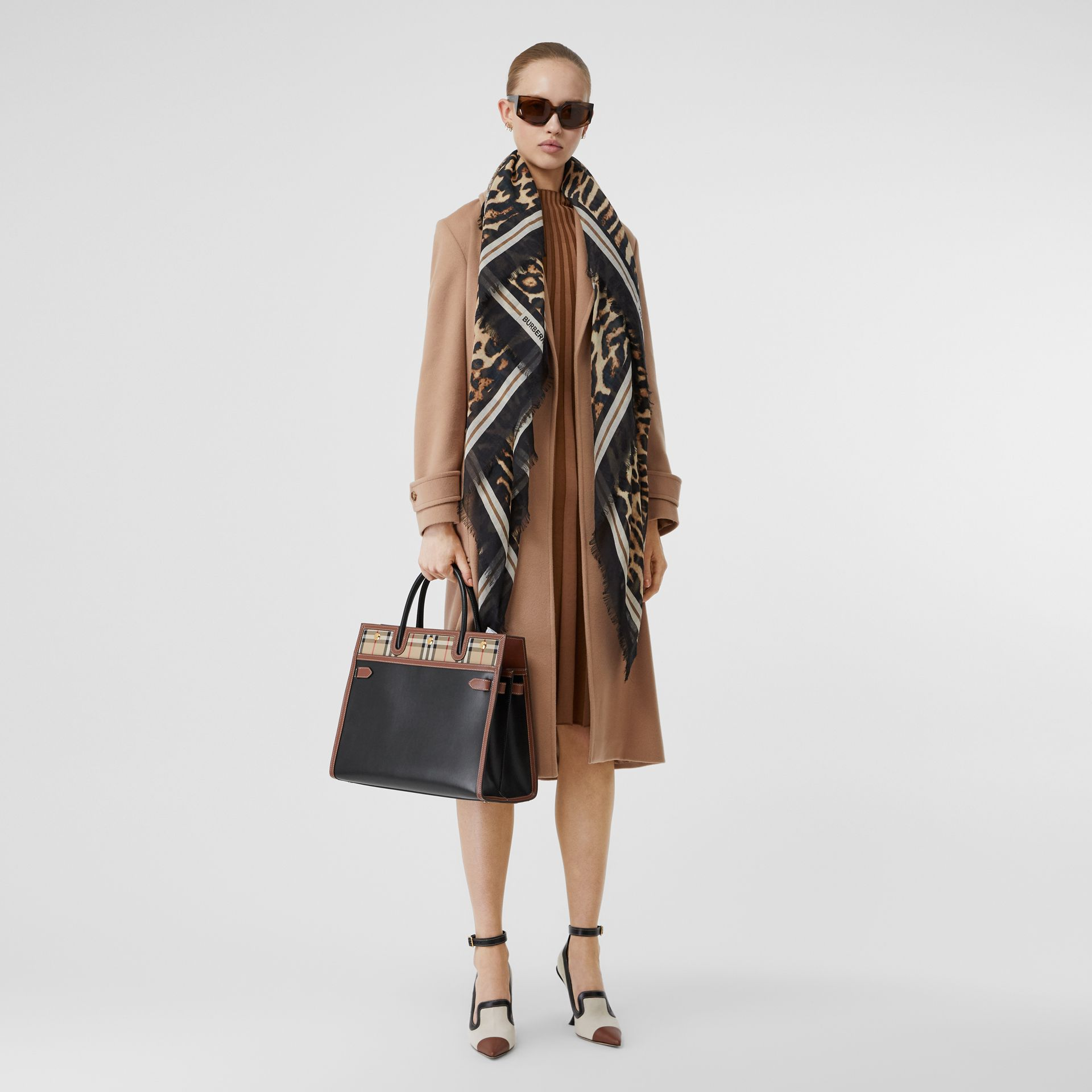 Monogram Print Wool Silk Large Square Scarf in Archive Beige | Burberry United States - gallery image 4