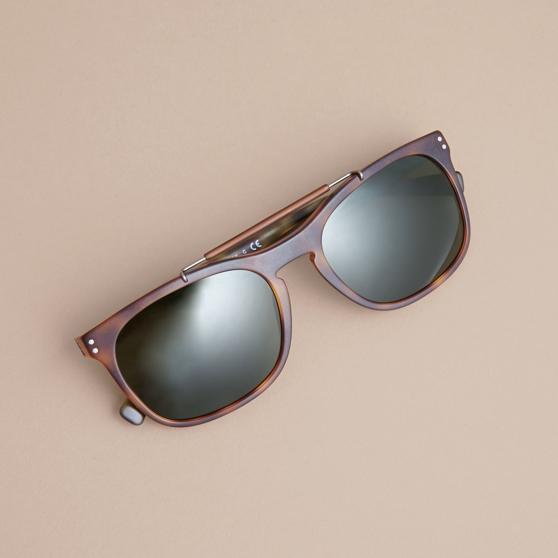 Top Bar Square Frame Sunglasses in Brown | Burberry Singapore - gallery image 2