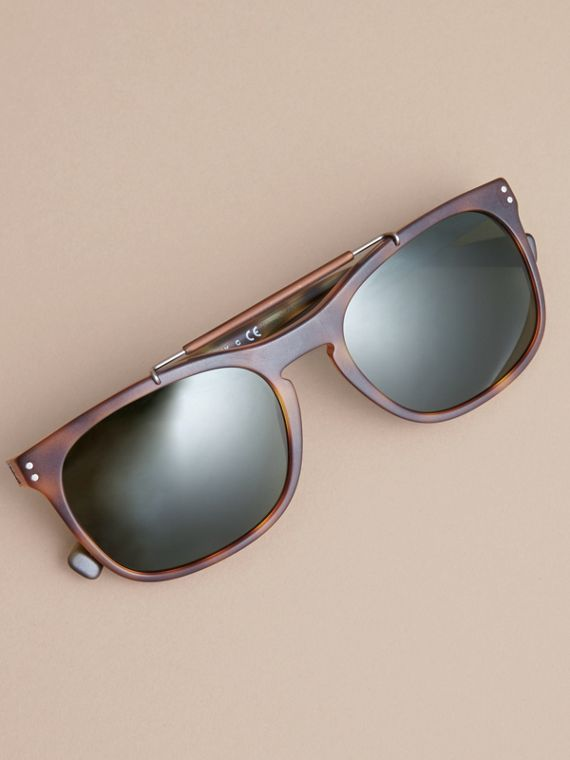 Top Bar Square Frame Sunglasses in Brown - Men | Burberry Australia - cell image 2