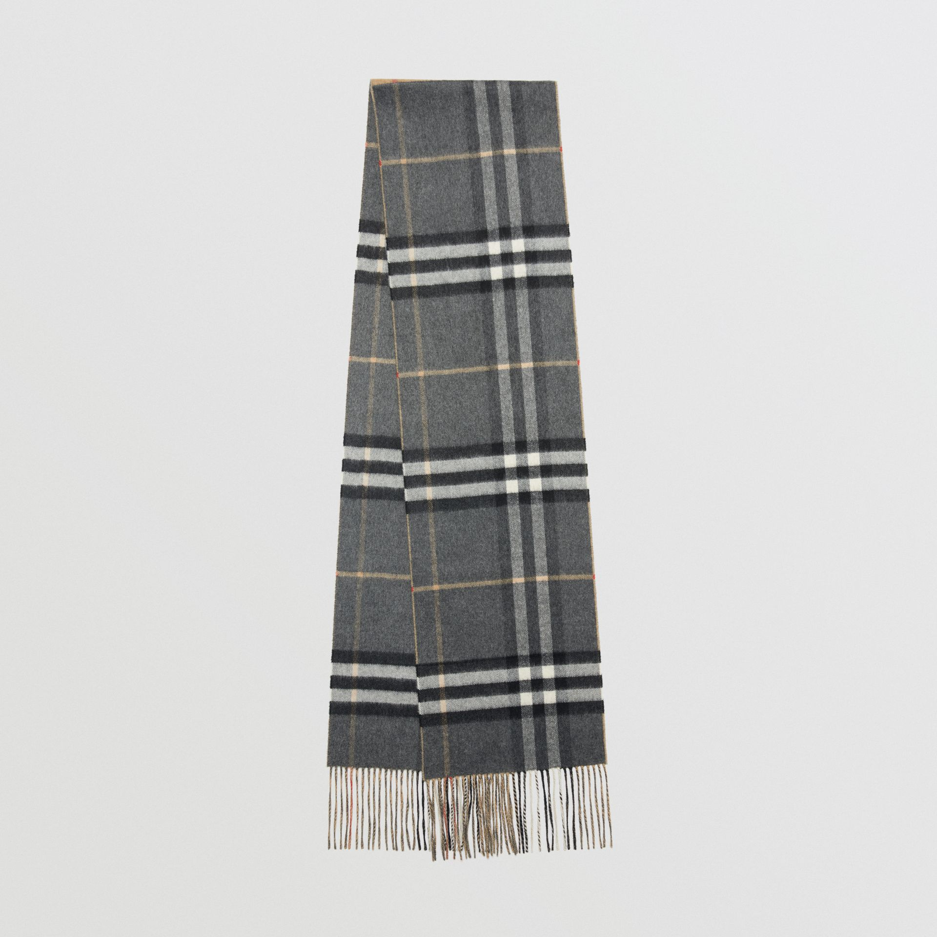 Long Reversible Check Double-faced Cashmere Scarf in Pewter Grey | Burberry Singapore - gallery image 0