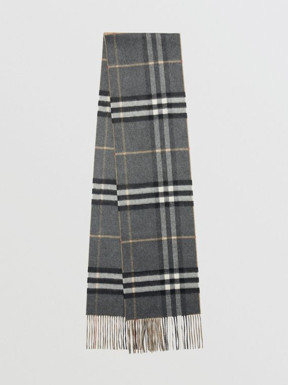 Long Reversible Check Double-faced Cashmere Scarf in Pewter Grey