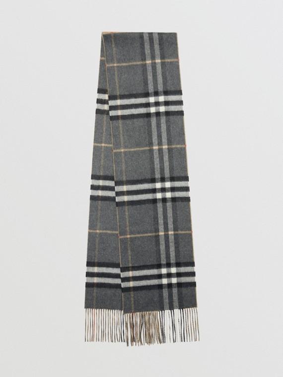Langer wendbarer Schal aus doppelseitig gewebtem Kaschmir in Karo-Optik (Zinngrau)