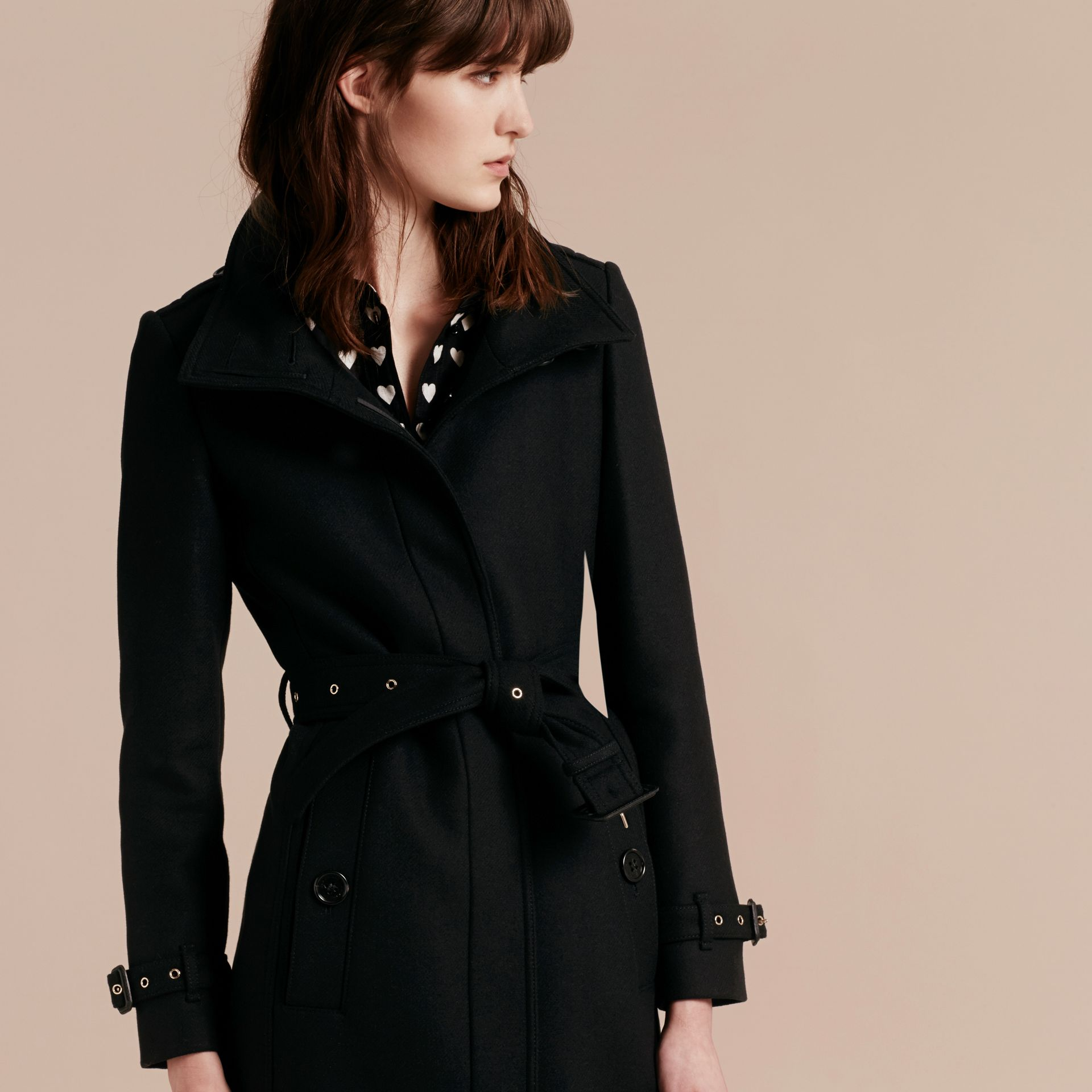 Technical Wool Cashmere Funnel Neck Coat in Black - Women | Burberry - gallery image 7