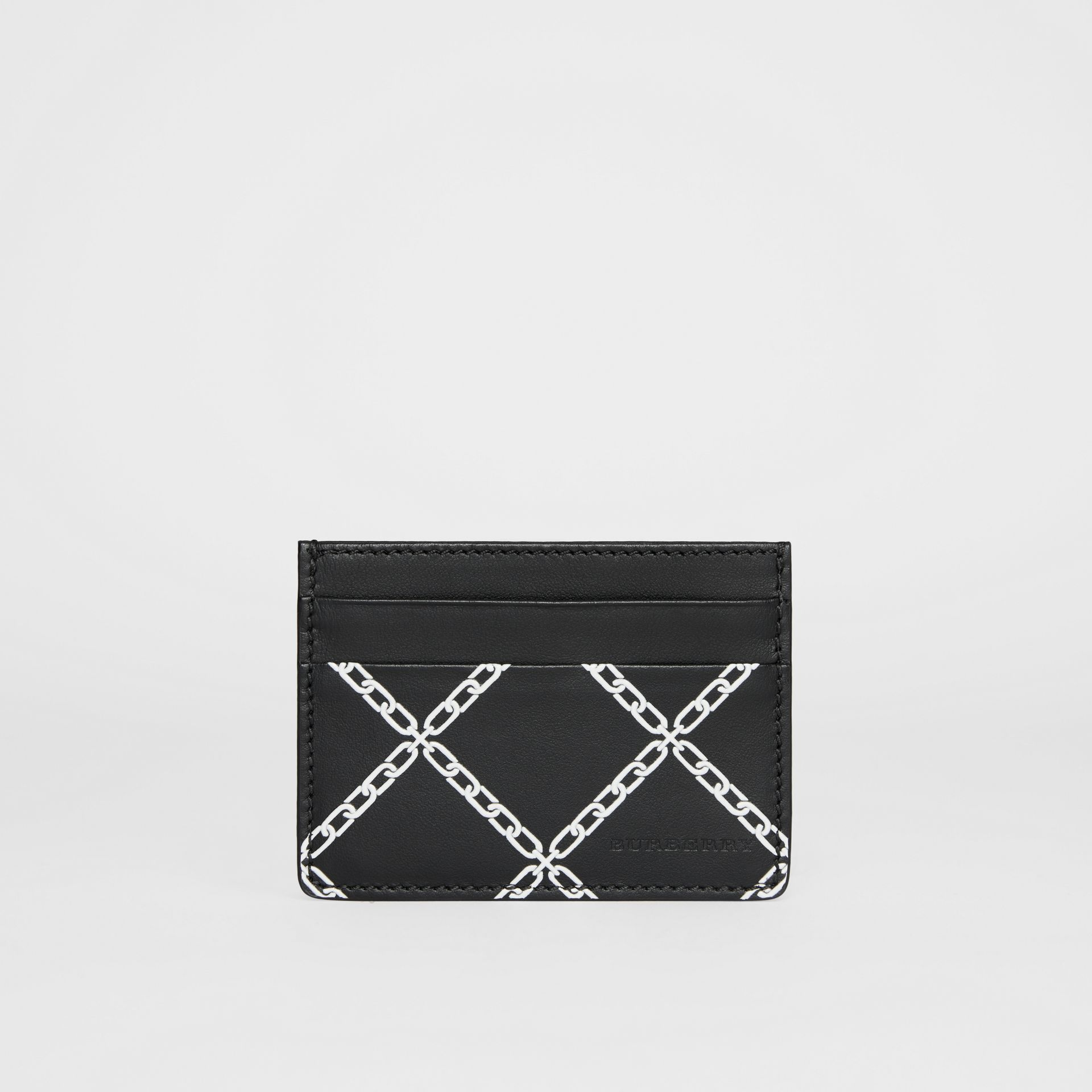 Link Print Leather Card Case in Black/chain | Burberry - gallery image 2