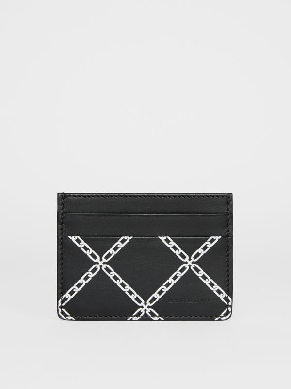 Link Print Leather Card Case in Black/chain | Burberry - cell image 2