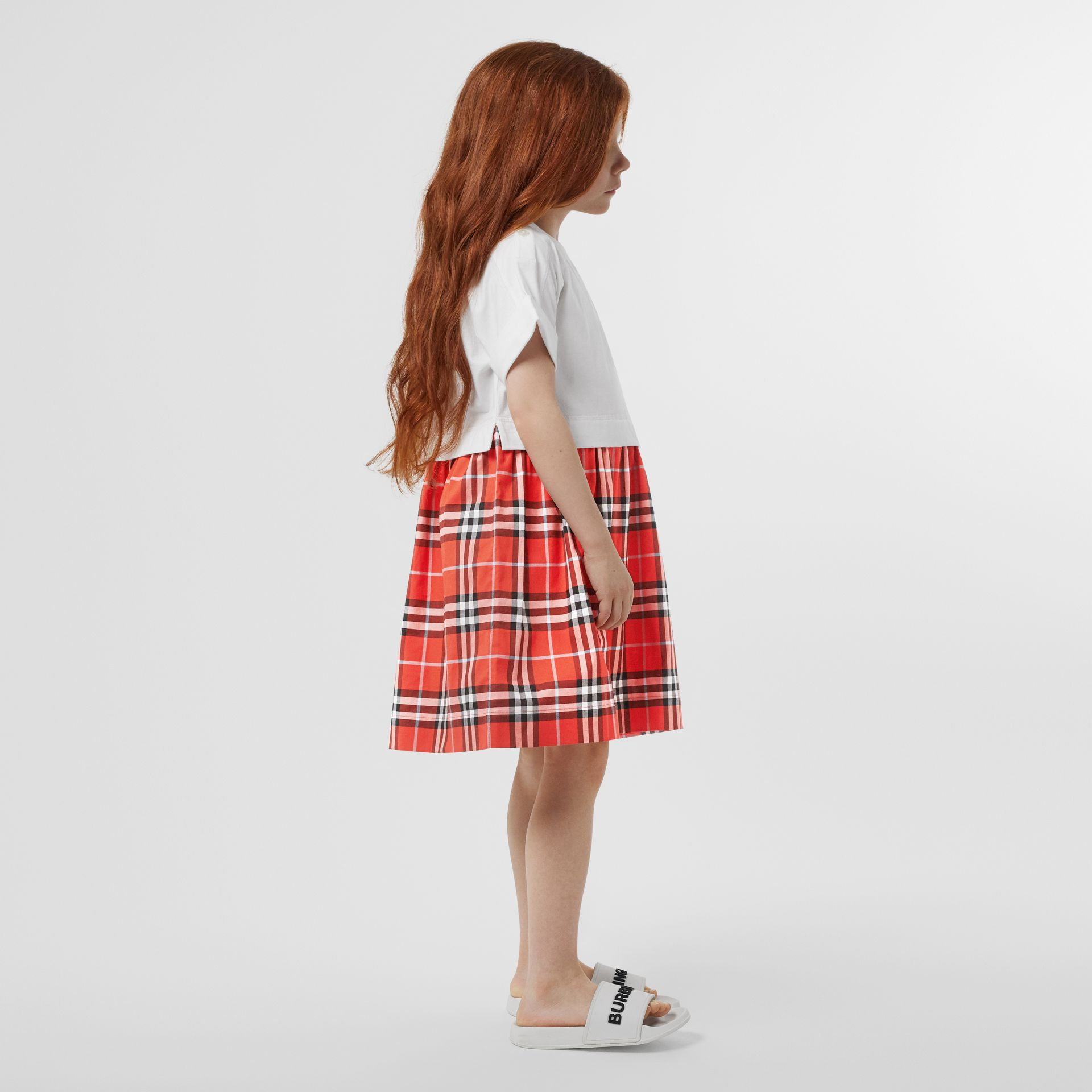 Vintage Check Cotton Dress in Orange Red | Burberry - gallery image 2