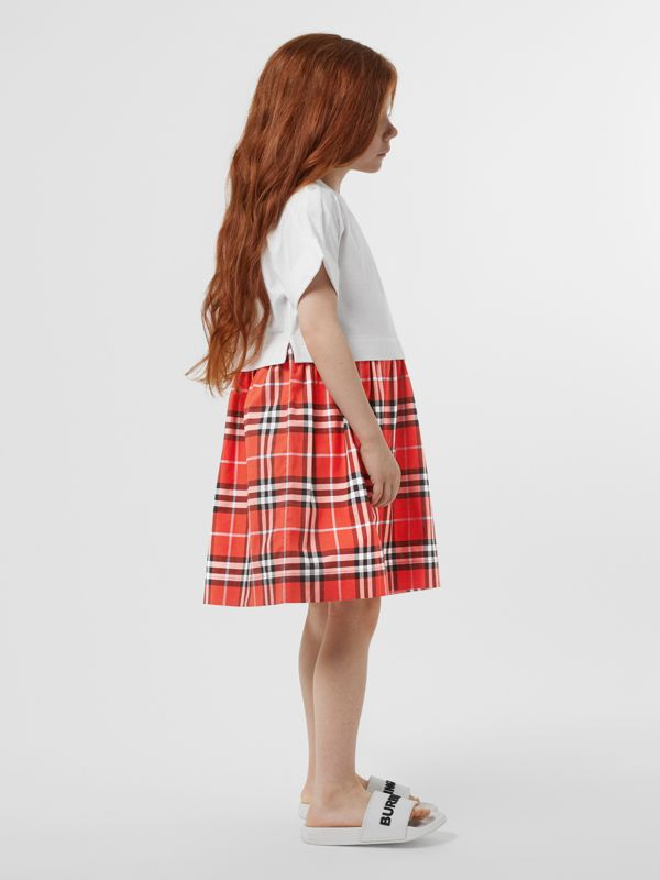 Vintage Check Cotton Dress in Orange Red | Burberry - cell image 2