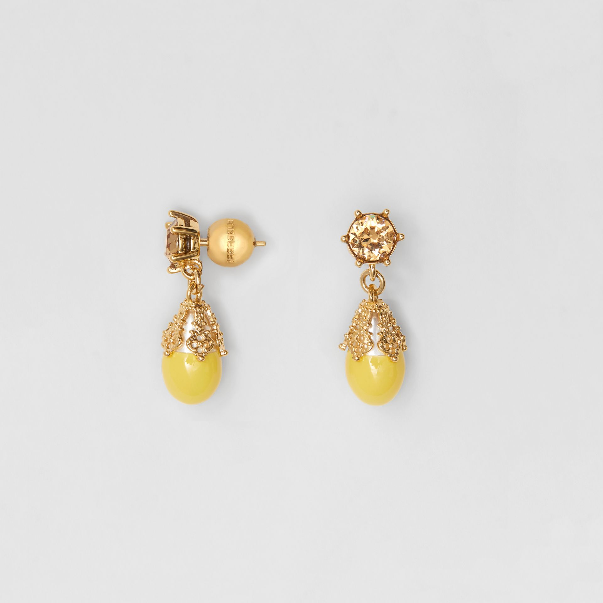 Gold-plated Faux Pearl Charm Earrings in Light Topaz/light - Women | Burberry Singapore - gallery image 3