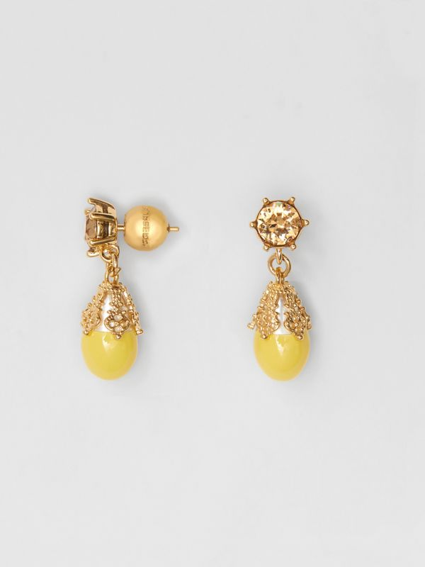 Gold-plated Faux Pearl Charm Earrings in Light Topaz/light - Women | Burberry United Kingdom - cell image 3