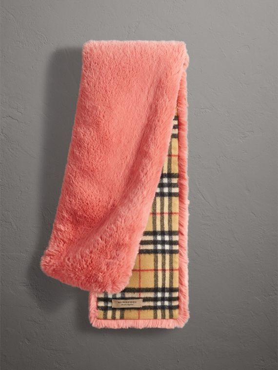 Vintage Check Cashmere And Faux Fur Scarf in Pale Pink