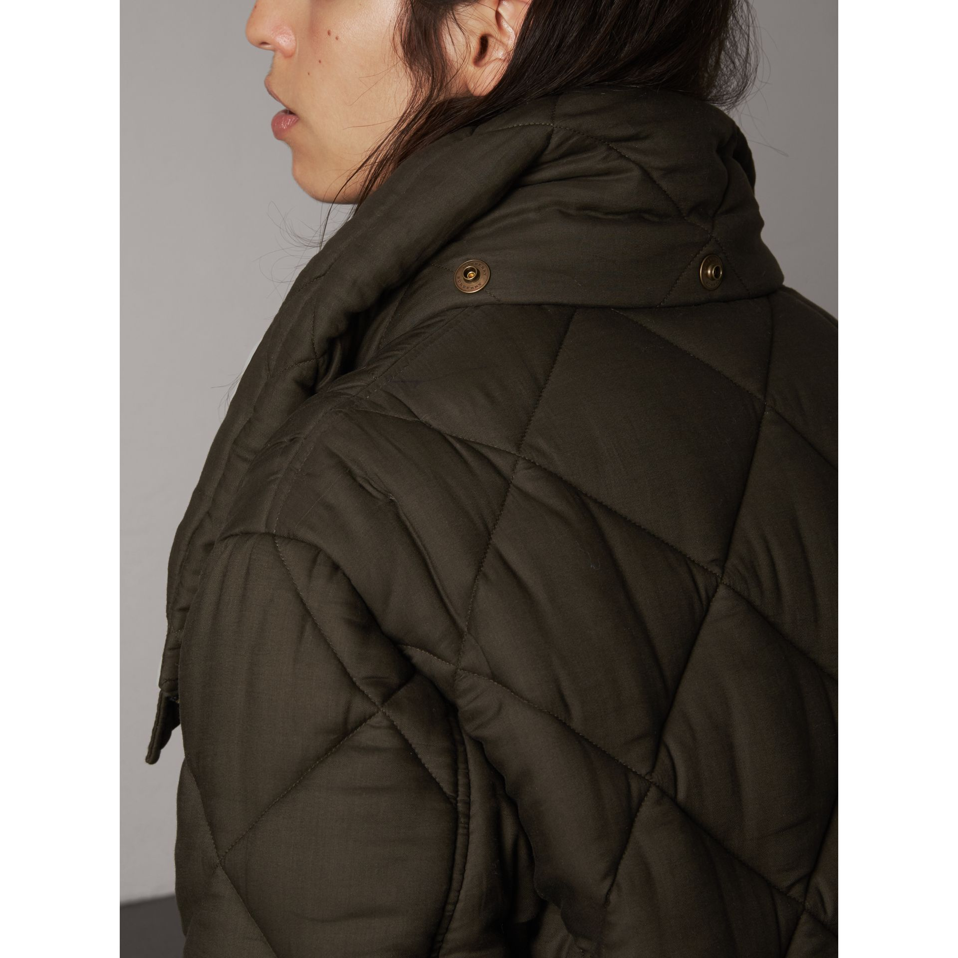Detachable Hood Oversized Quilted Jacket in Olive - Women | Burberry - gallery image 4