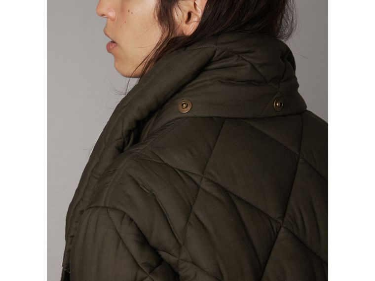 Detachable Hood Oversized Quilted Jacket in Olive - Women | Burberry - cell image 4