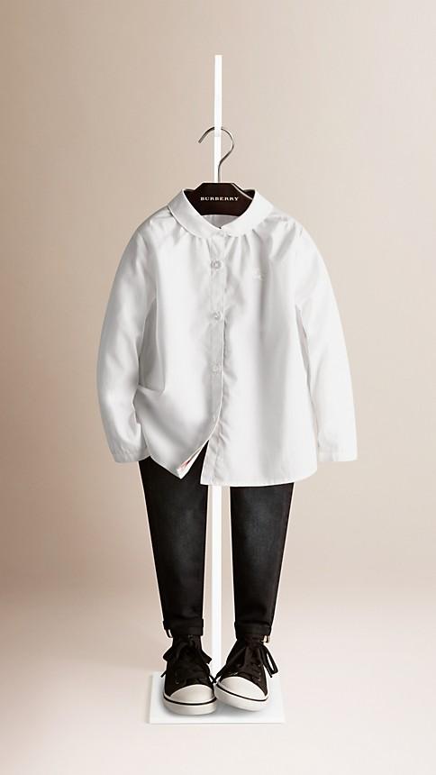 Blanc Chemise en coton ruché - Image 1