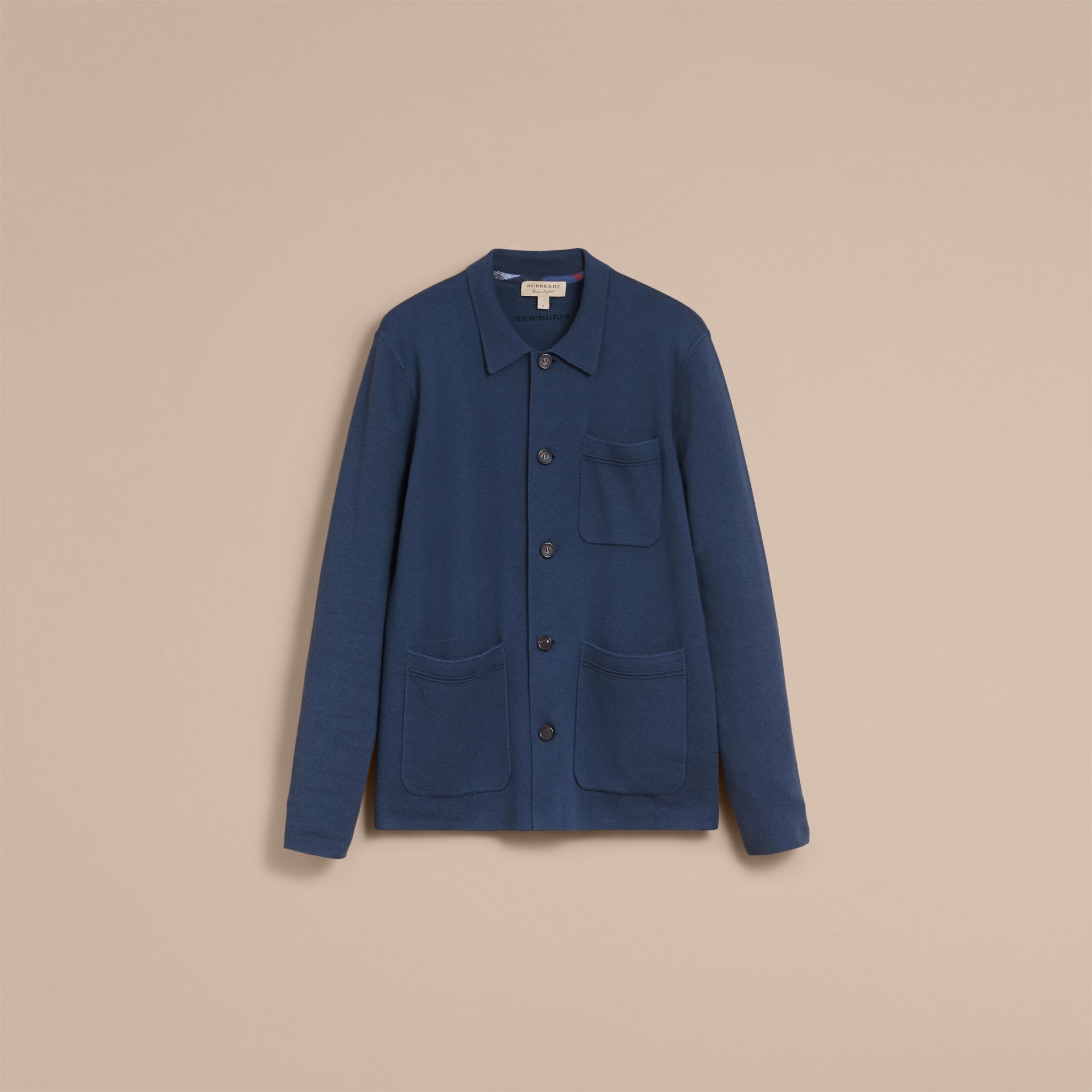 Knitted Cashmere Cotton Workwear Jacket in Steel Blue - Men | Burberry - gallery image 4