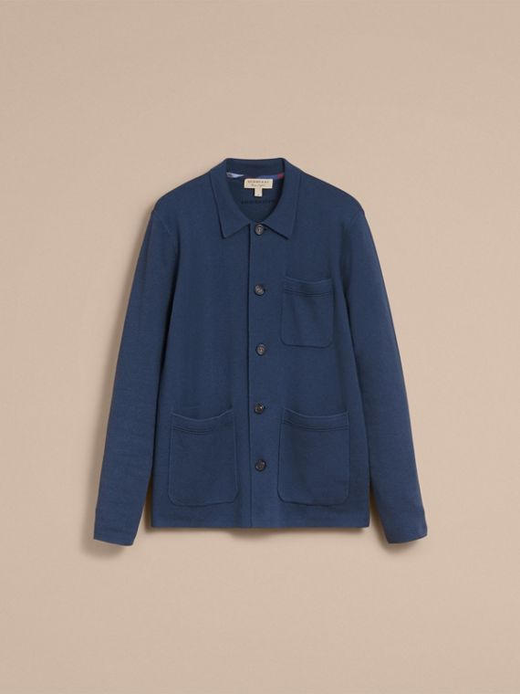 Knitted Cashmere Cotton Workwear Jacket in Steel Blue - Men | Burberry - cell image 3