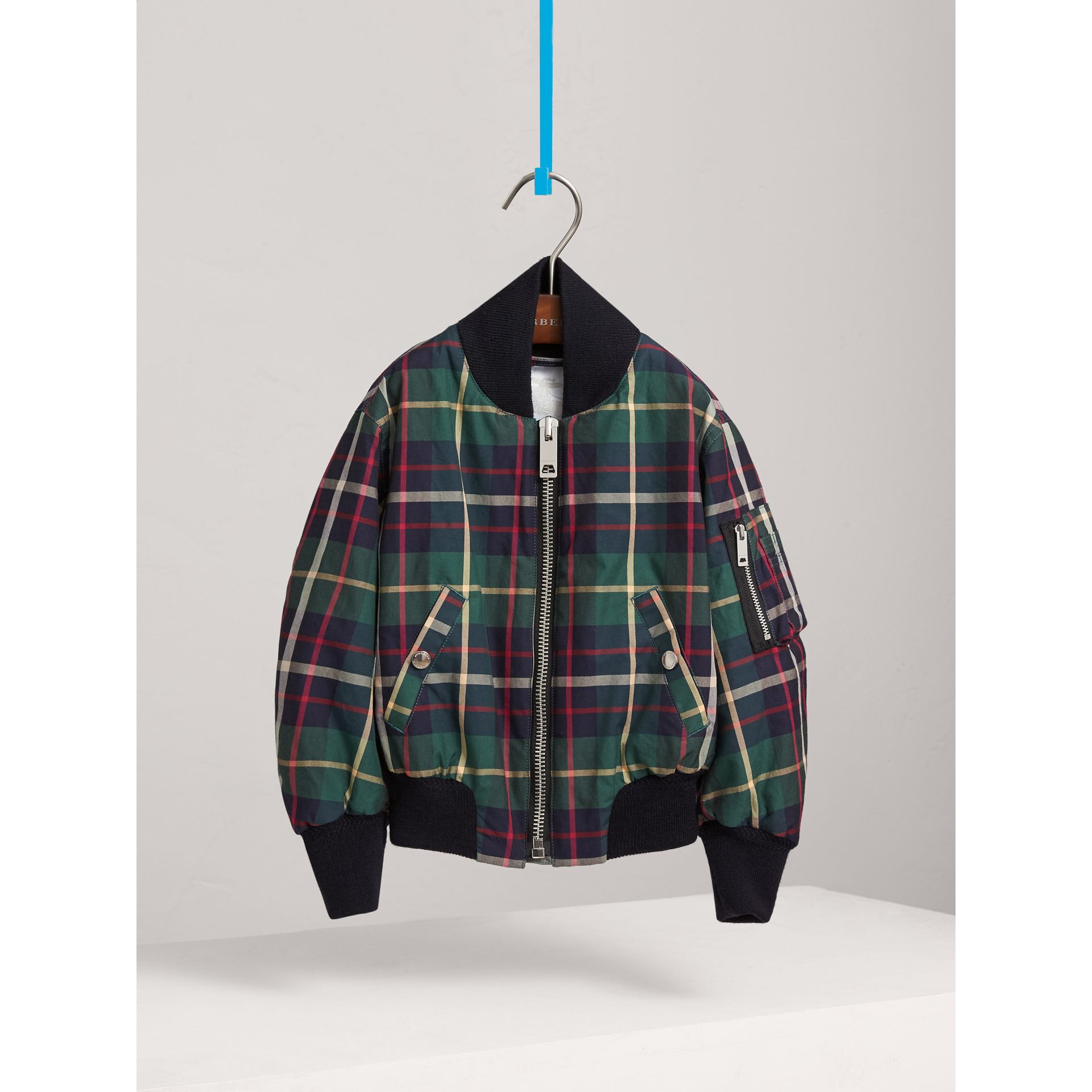 Tartan Cotton Bomber Jacket in Racing Green - Girl | Burberry - gallery image 3