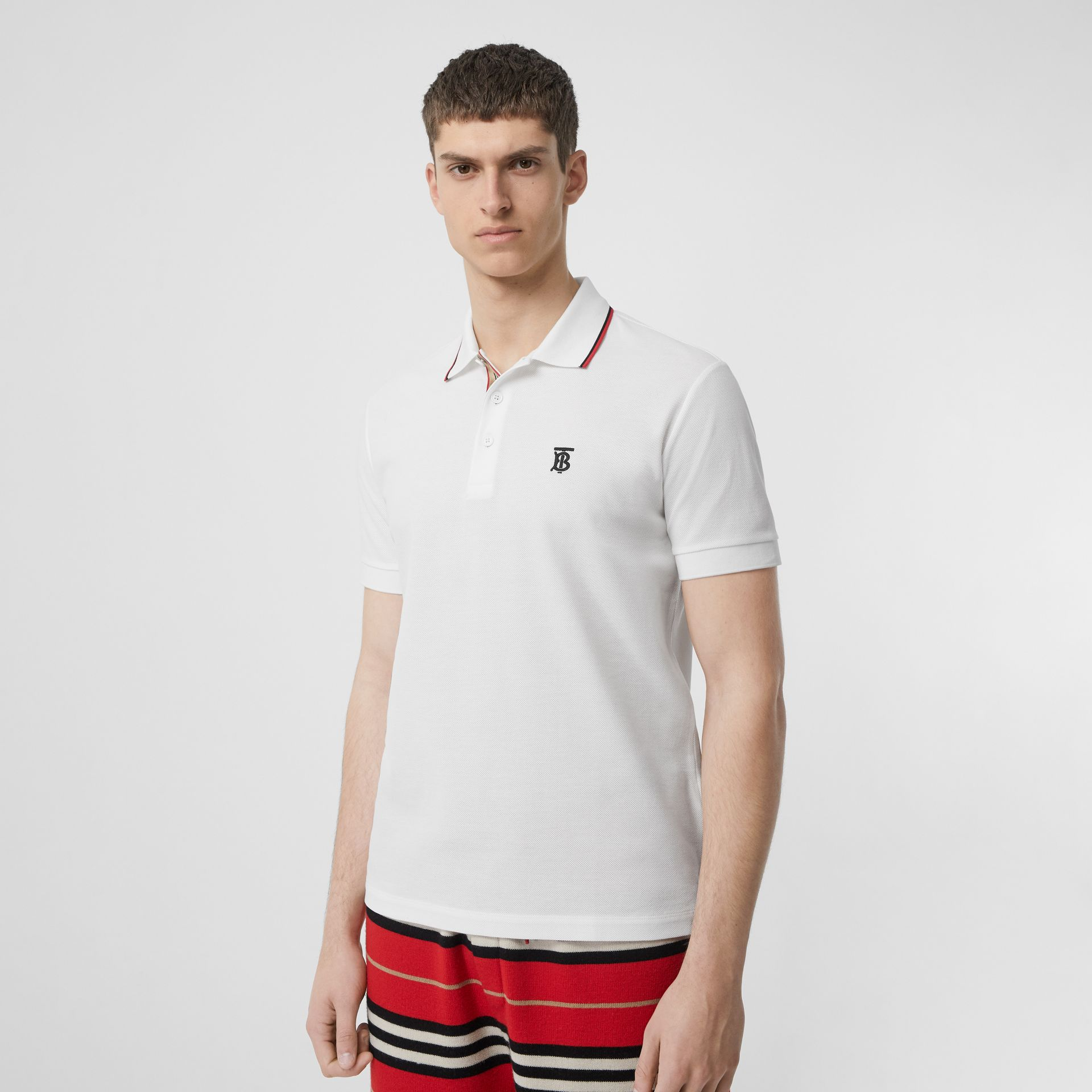 Icon Stripe Placket Cotton Piqué Polo Shirt in White - Men | Burberry United States - gallery image 4