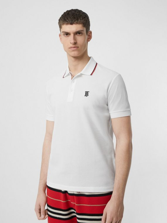 Icon Stripe Placket Cotton Piqué Polo Shirt in White
