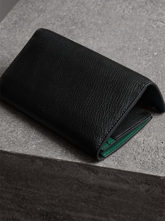D-ring Grainy Leather Continental Wallet in Black/green - Women | Burberry - cell image 2