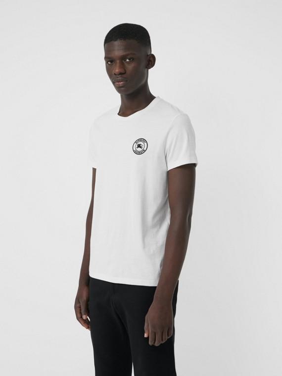 Baumwoll-T-Shirt mit gesticktem Logo (Weiss)