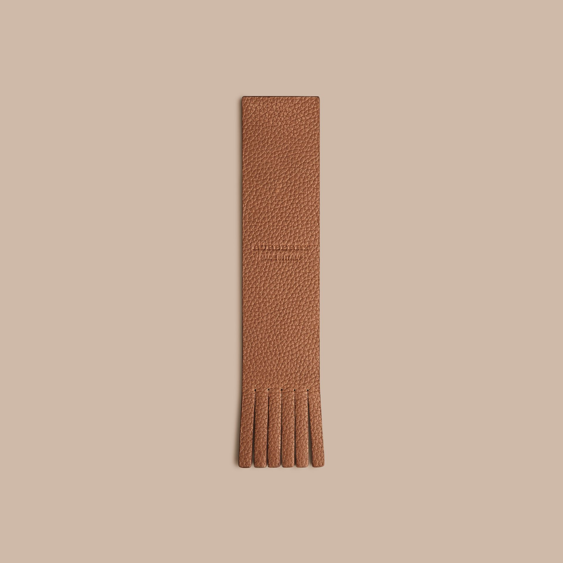Grainy Leather Bookmark in Tan | Burberry - gallery image 4