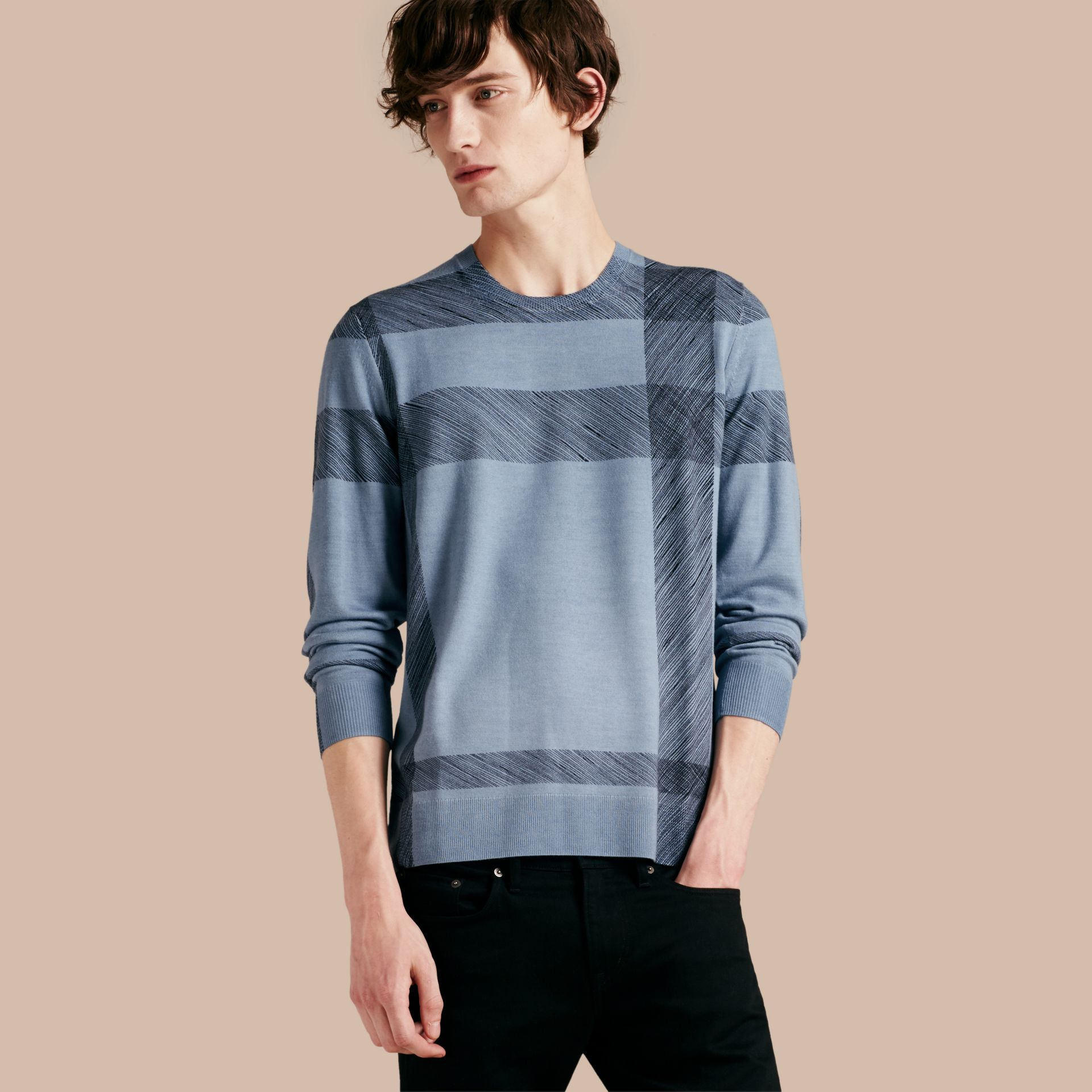 Light blue Abstract Check Merino Wool Sweater - gallery image 1