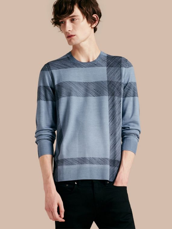 Abstract Check Merino Wool Sweater Light Blue