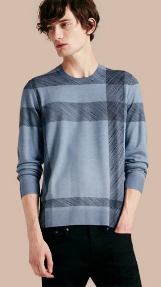 Pullover in lana Merino con motivo check astratto