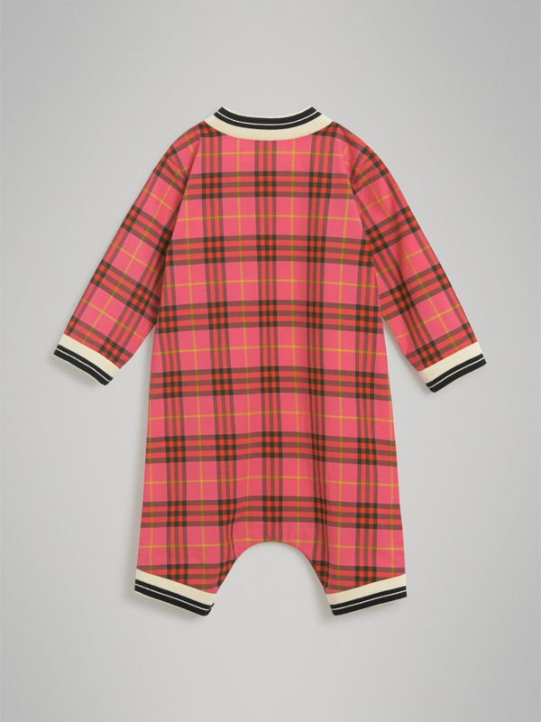 Check Cotton Jumpsuit in Coral Red - Children | Burberry - cell image 3