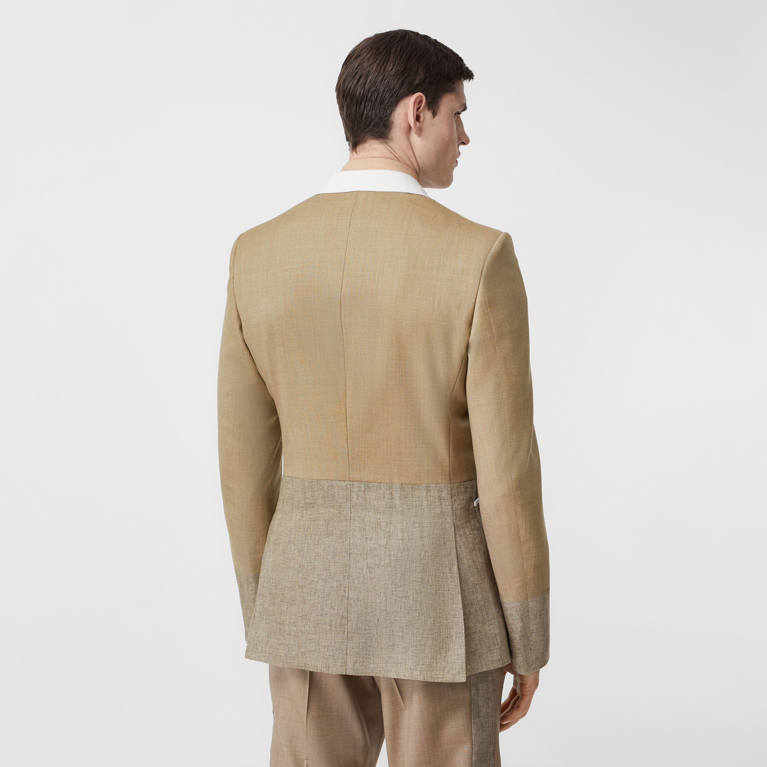English Fit Wool Cashmere and Linen Tailored Jacket in Pecan Melange - Men | Burberry - 3