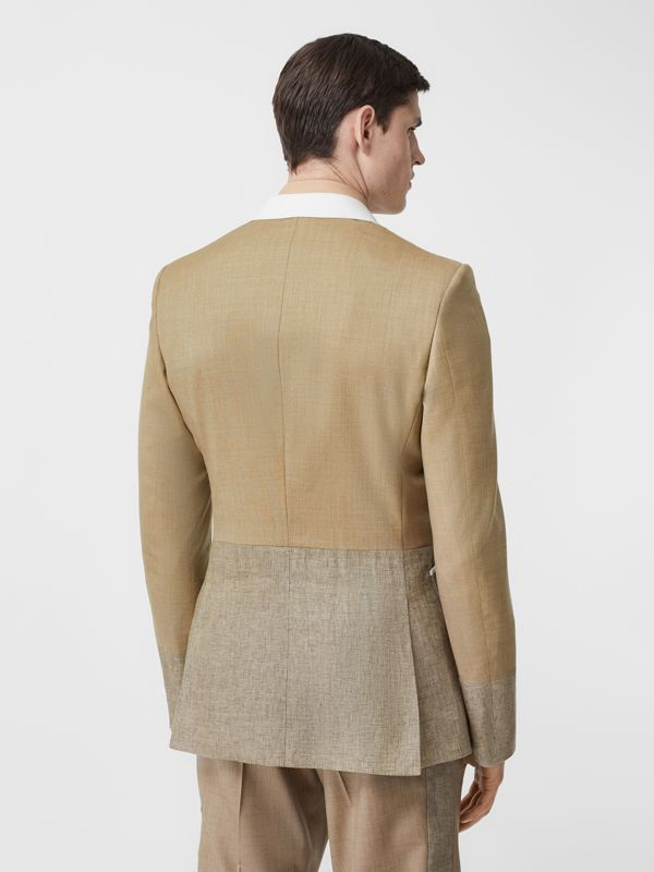 English Fit Wool Cashmere and Linen Tailored Jacket in Pecan Melange | Burberry - cell image 2