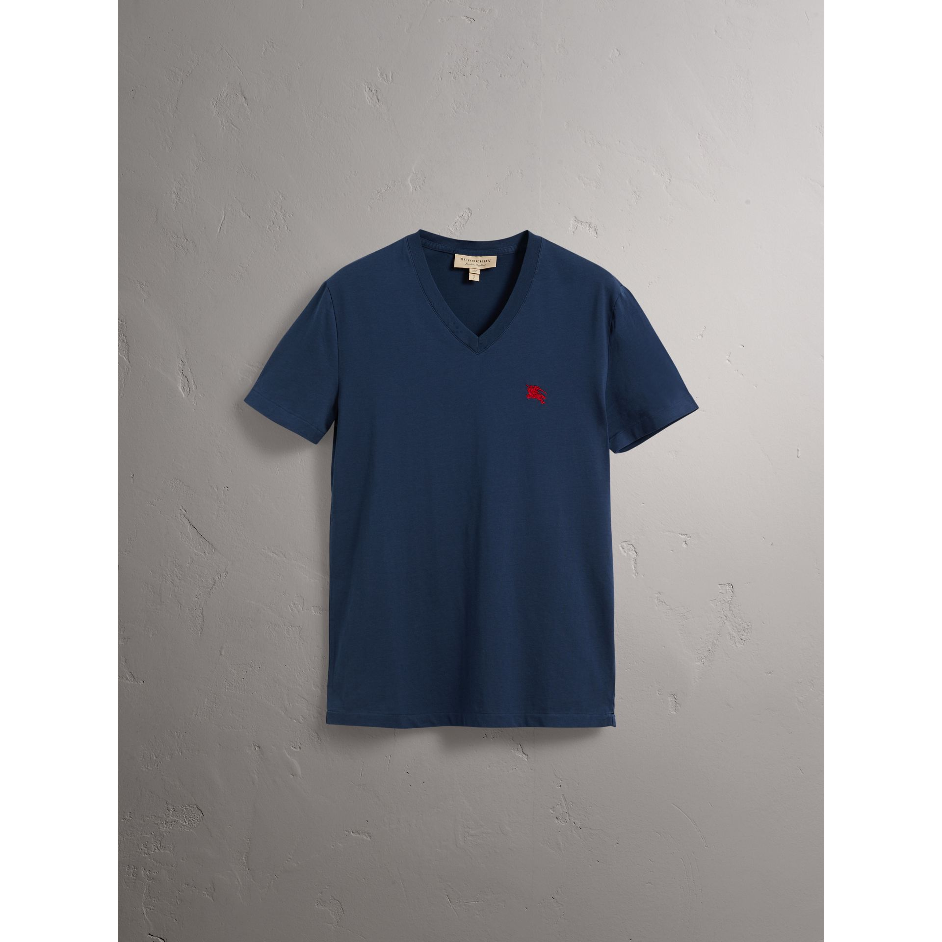 Cotton V-neck T-shirt in Navy - Men | Burberry - gallery image 3
