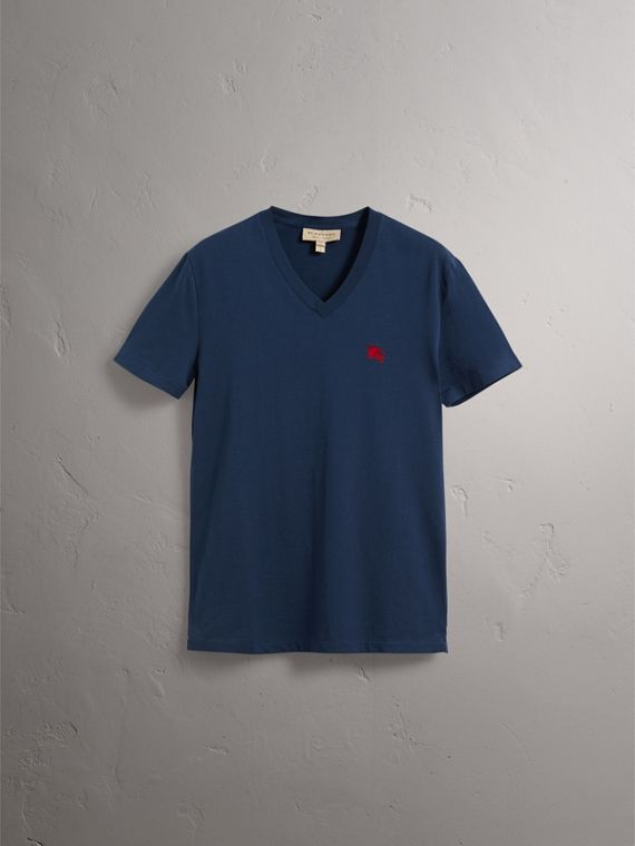 Cotton V-neck T-shirt in Navy - Men | Burberry Hong Kong - cell image 3