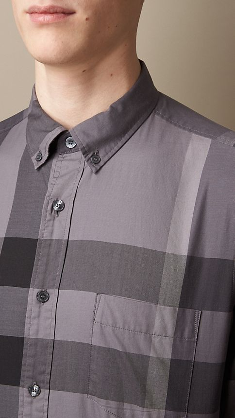Charcoal Short-sleeved Check Cotton Shirt Charcoal - Image 3